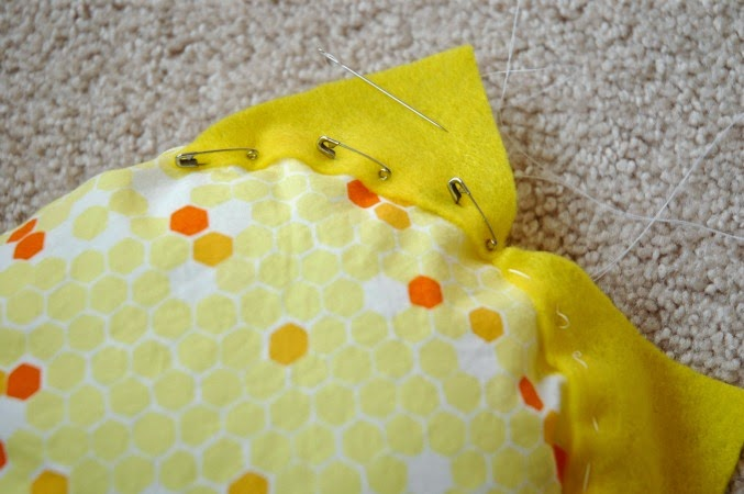 pinning rays to sun sewing project