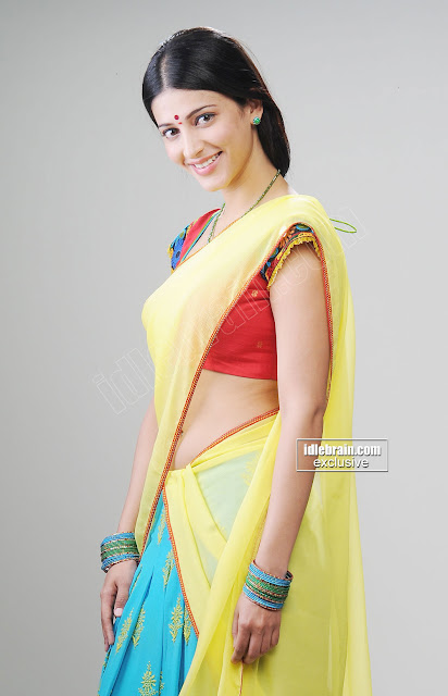 Milky beauty Shruthi Hassan in saree photoshoot Navel Show latest pics ...
