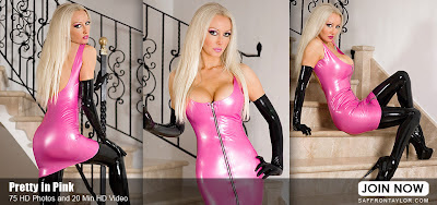 Saffron Taylor - Pretty in Pink Latex Dress and Boots