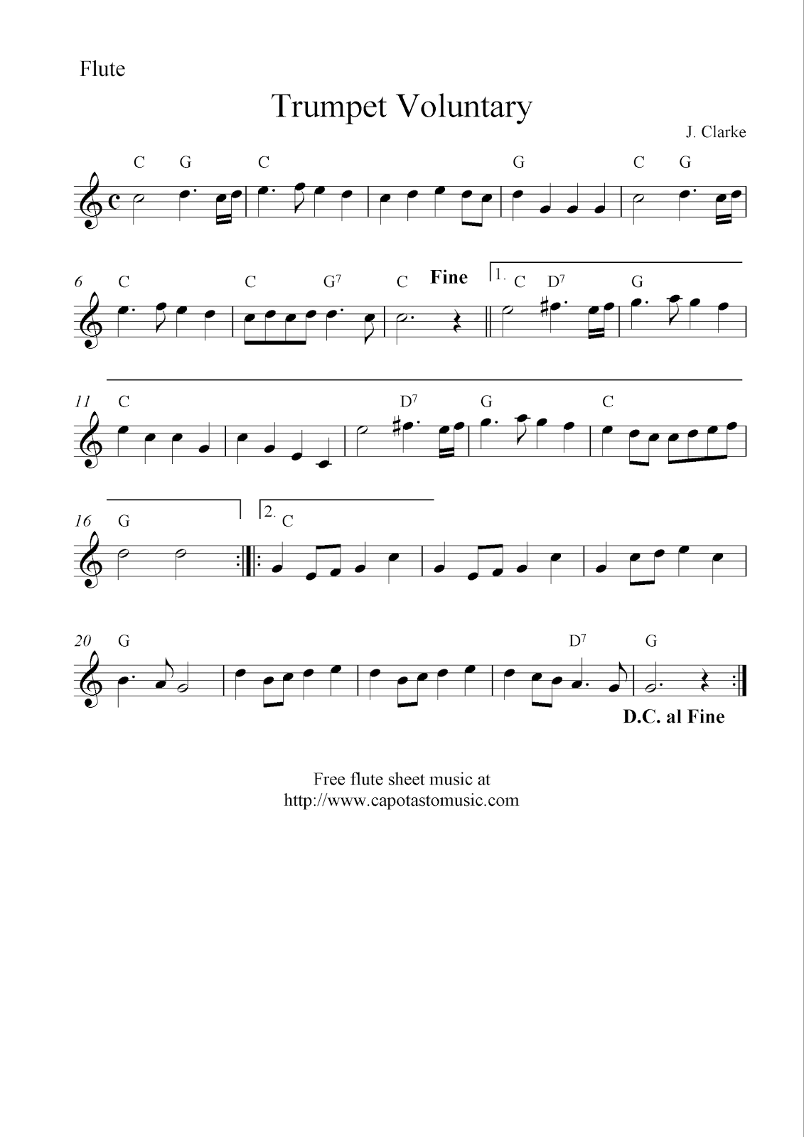 Trumpet voluntary free flute sheet music notes