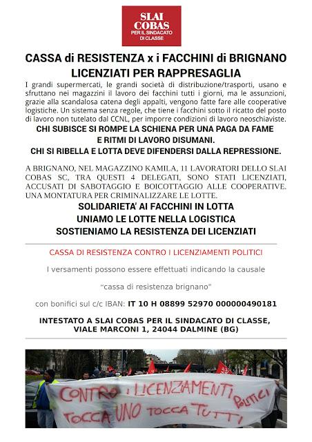 Sostieni la Cassa di Resistenza per i facchini di Brignano licenziati per rappresaglia