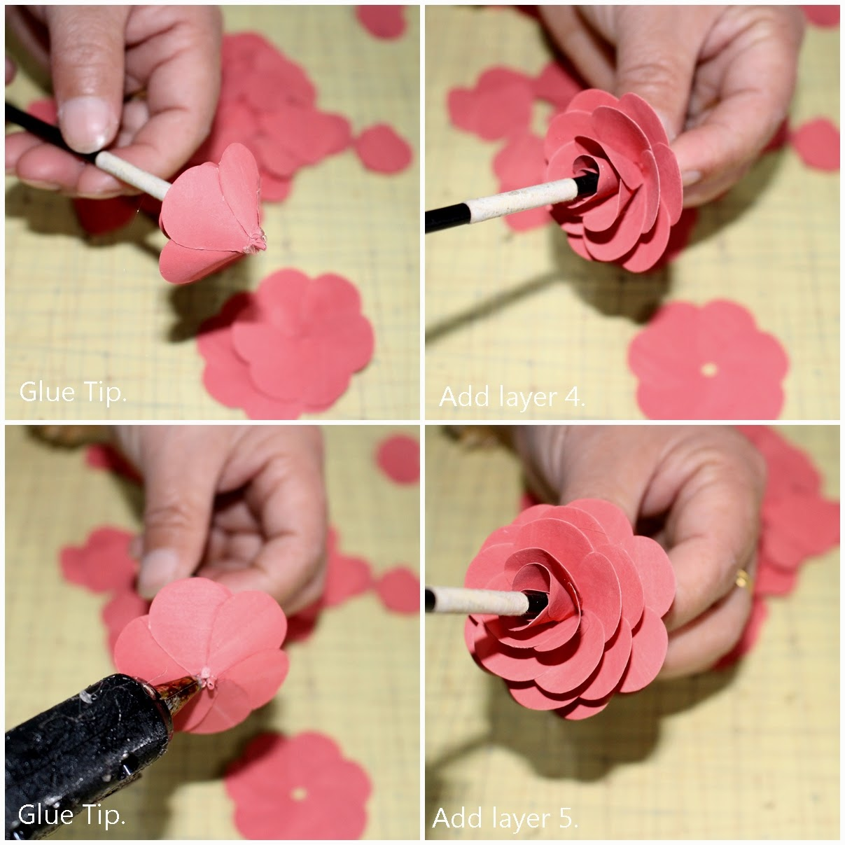 Diy How To Make A Paper Rose Using Latex Painted Paper Reduce