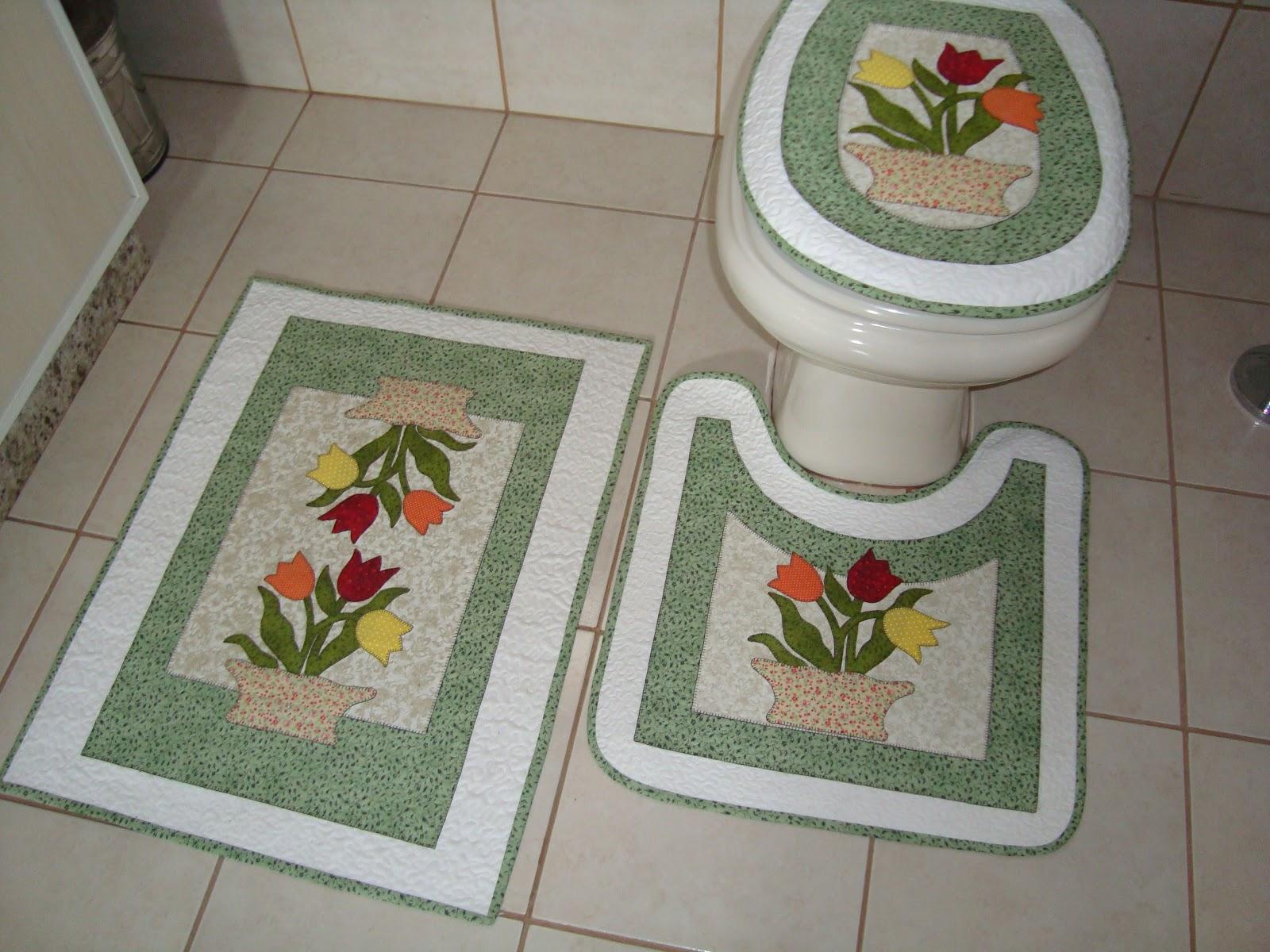 Patchwork Em Tapete De Banheiro : Jogo de Tapetes para banheiro
