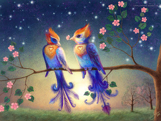 Birds in Love Romantic Wallpaper
