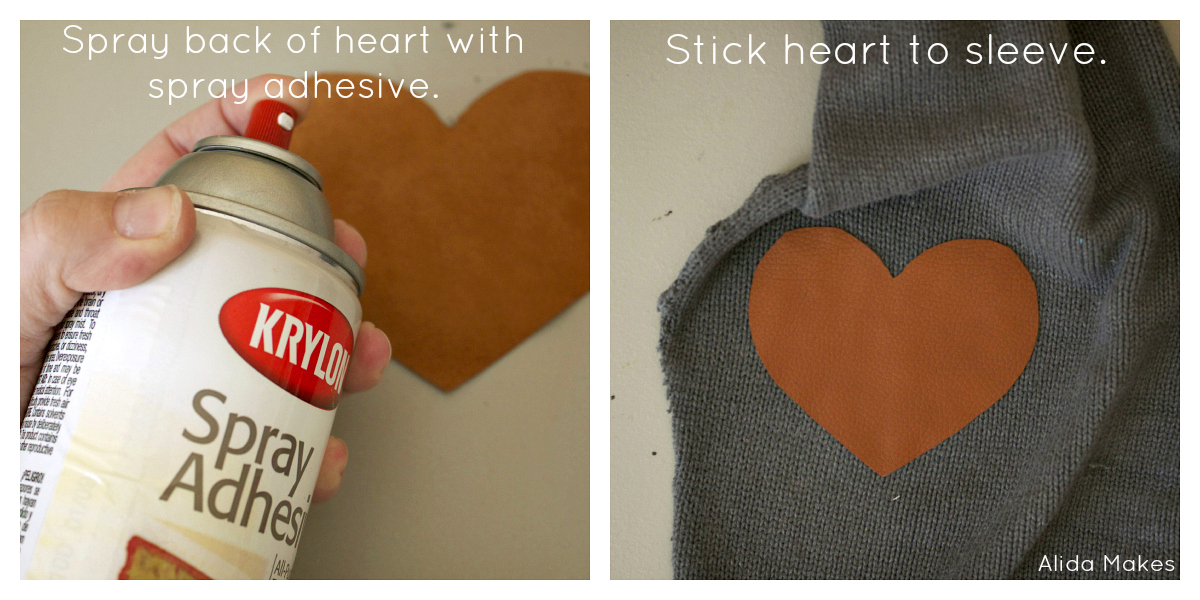Leather Heart Elbow Patches Sweater Refashion Love Stitched
