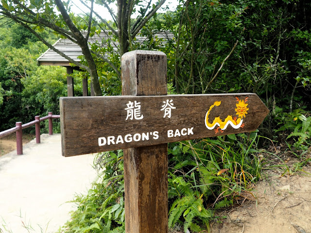 Wooden sign post for Dragon's Back Hiking Trail, Hong Kong Island