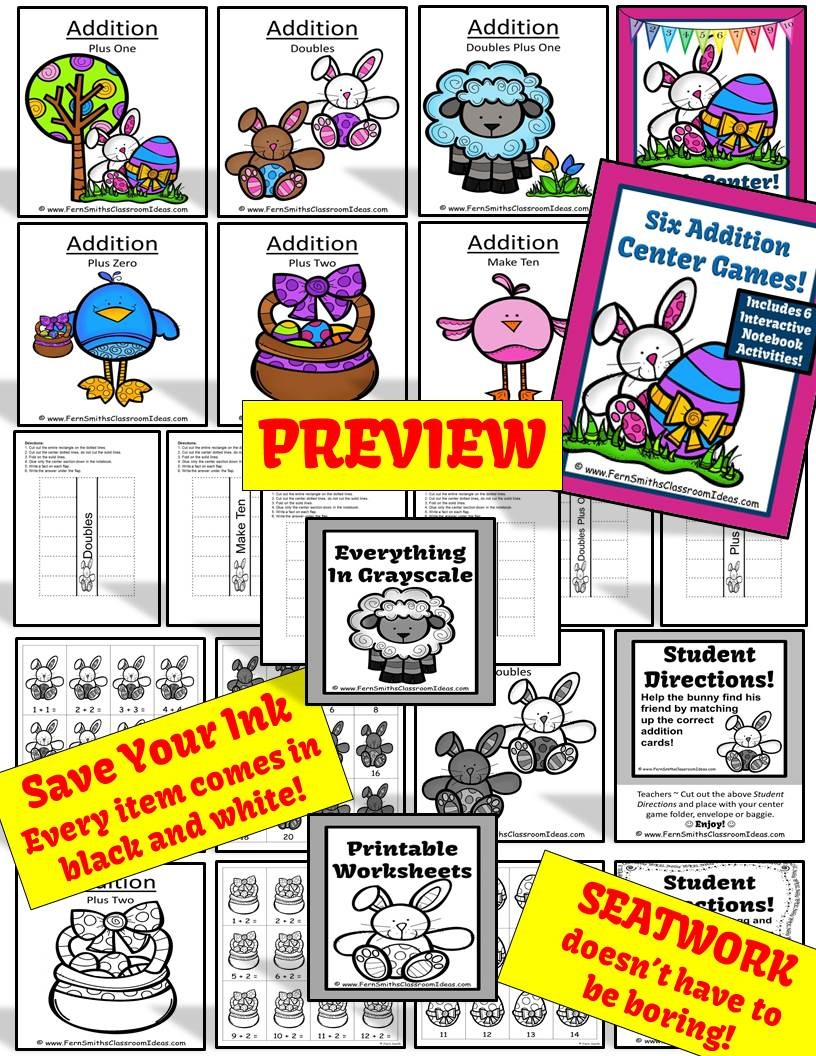 Fern Smith's Classroom Ideas Easter Addition Centers, Printable Seatwork Centers and Foldables