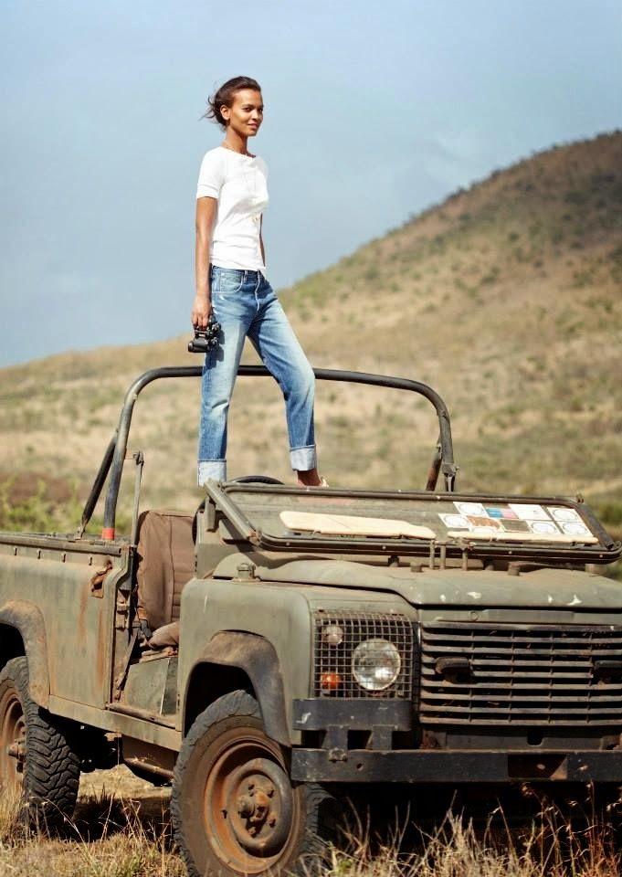 vogue safari white tee shirt and denim