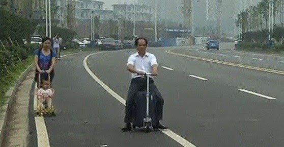 How a Chinese Farmer Invented a Rideable Suitcase in this video
