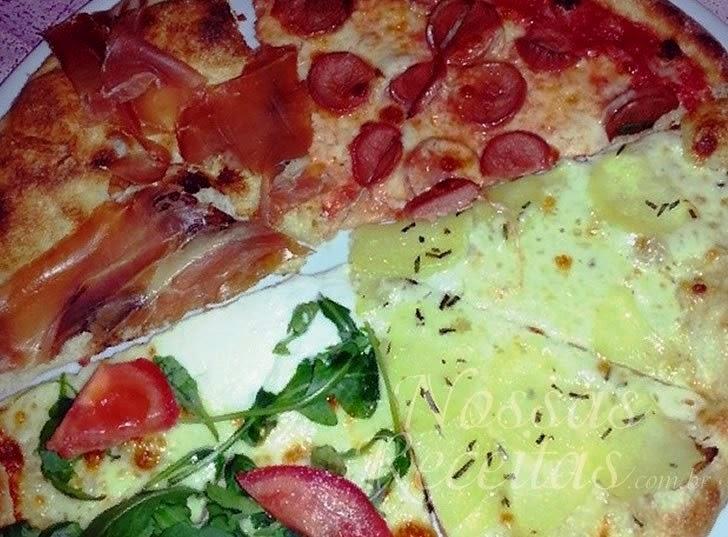 Receita de pizza com cobertura de diversos sabores