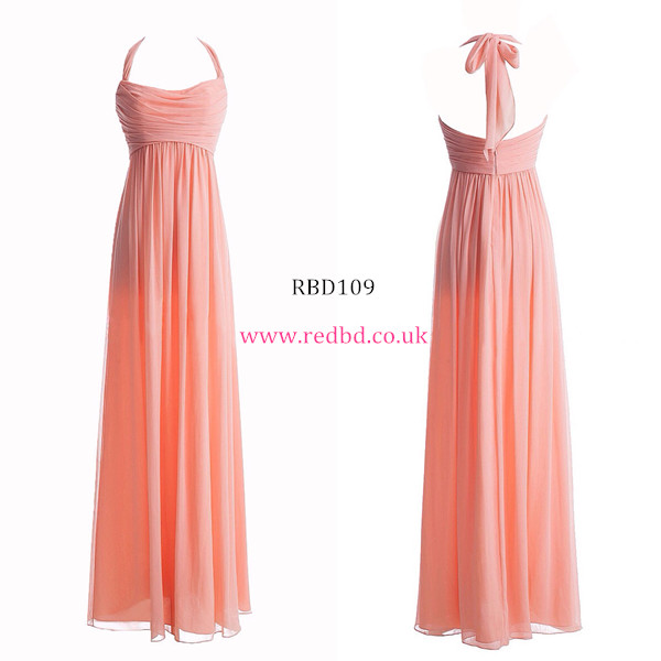 Halter Pink Long Bridesmaid Dress for pregnant women