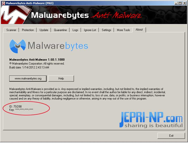 Malwarebytes anti malware with four serial keys