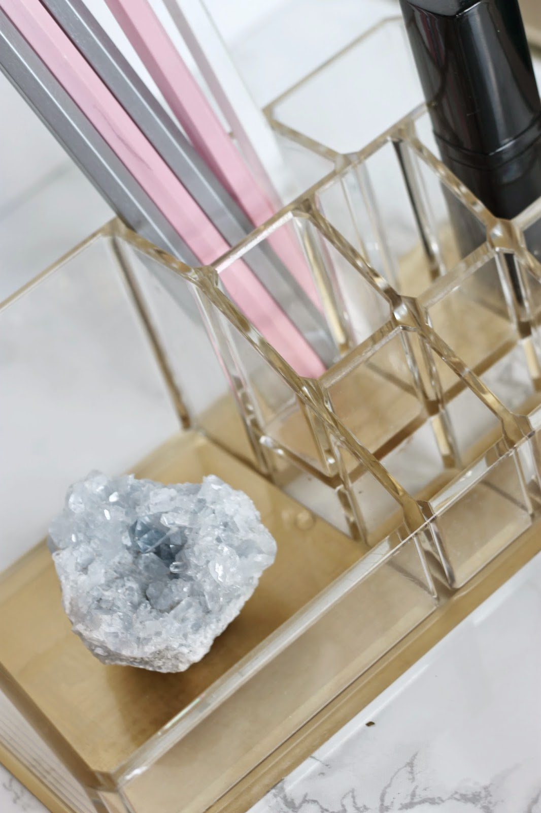 JWS Interiors Glam DIY Lucite and Gold Desk Accessories with