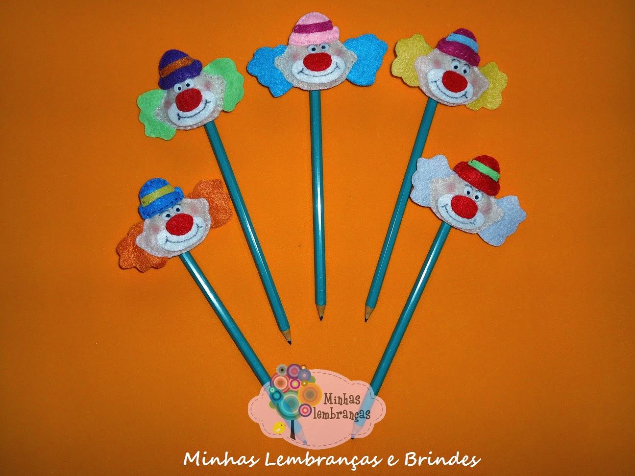 palhaços-feltro-ponteira de lápis-lembrancinha-brinde-festa-circo-infantil