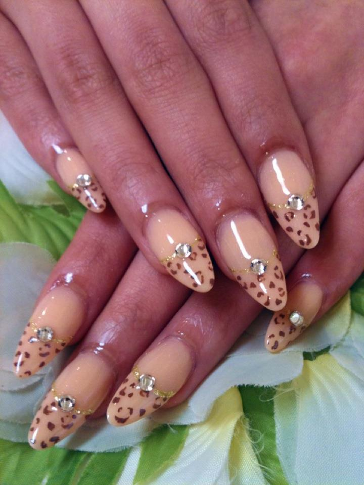 ♥Cute Nail Designs♥: Beige Leopard Acrylic Nails by Ayano