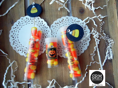 SRM Stickers Blog - Crafty Halloween Tubes by Angi - #halloween #treats #tubes #stickers #favors #DIY