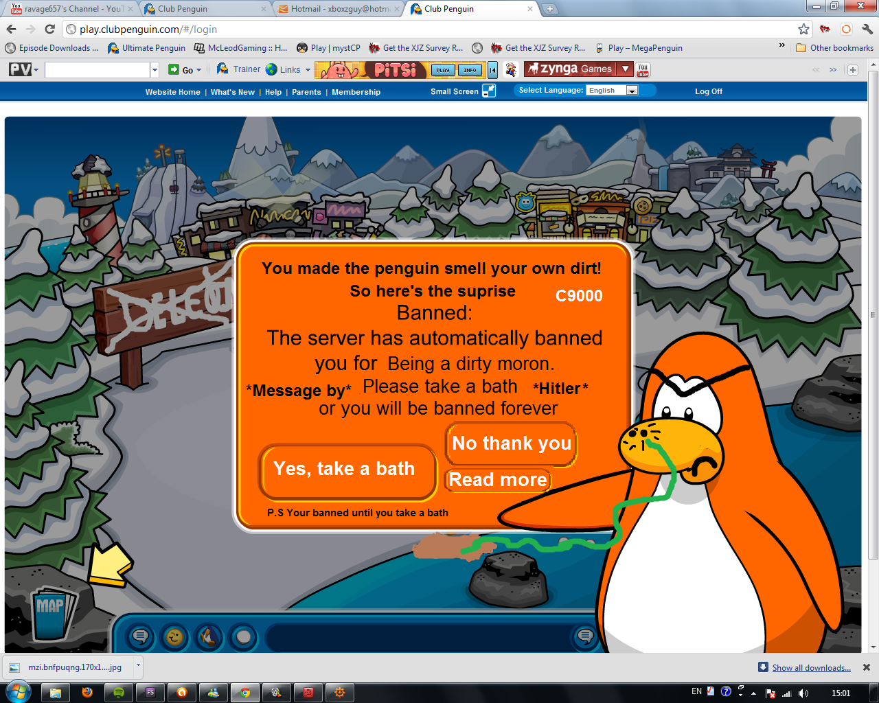 Funny club penguin bans