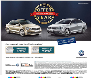 Volkswagen offer of the year 2015 with lowest interest rate |  Vento, Jetta offers and discounts