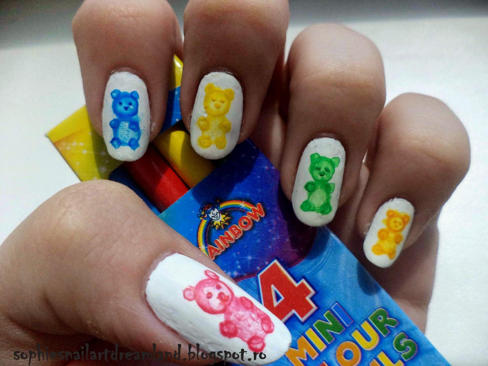 Alphabet nail art challenge - Letter G for... Gummy Bears ...