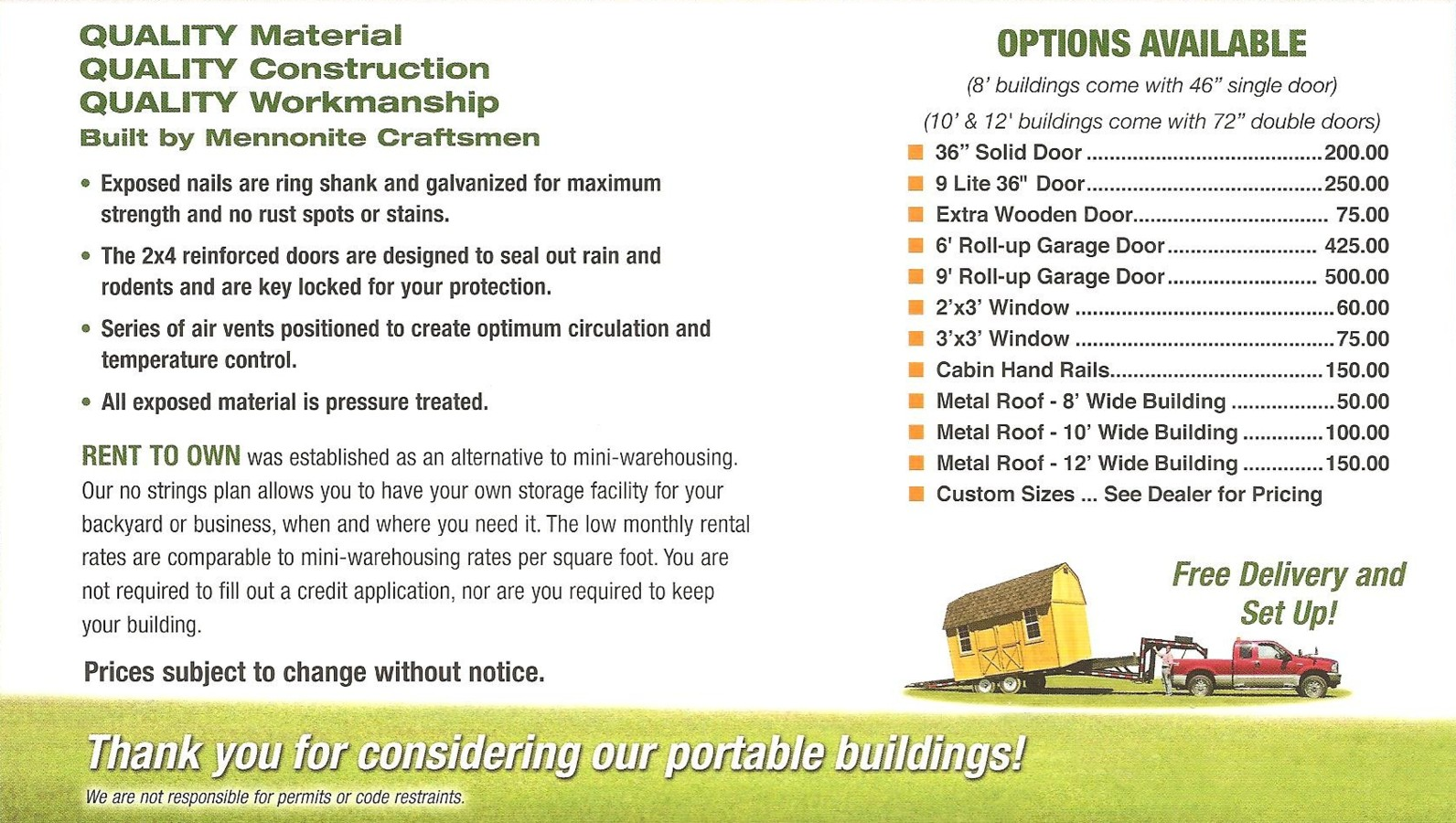 Derksen portable buildings at interstate plaza february 2012 for Builders prices