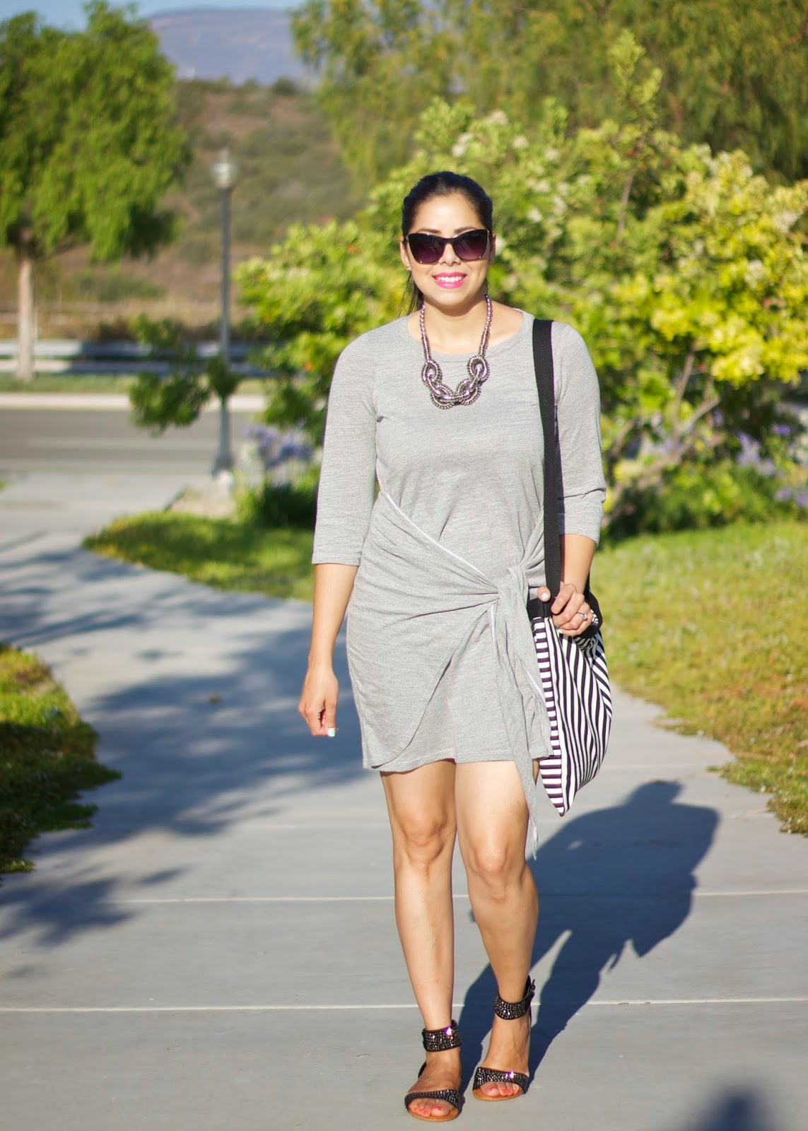 Casual Glam Outfit, shop kika gray dress, shop kika rea dress