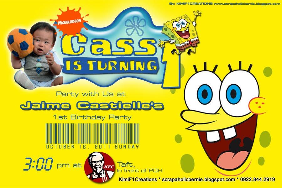 F1 Digital Scrapaholic: Spongebob Birthday Invitation for SP Mom ...