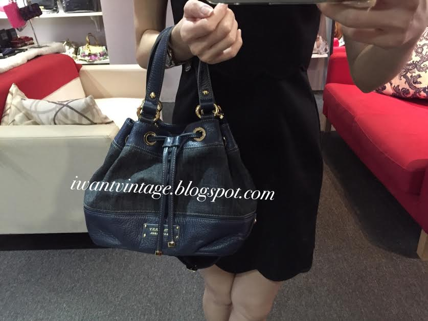 Burberry Blue Label Denim Leather Bucket Bag a4552b4d5920b