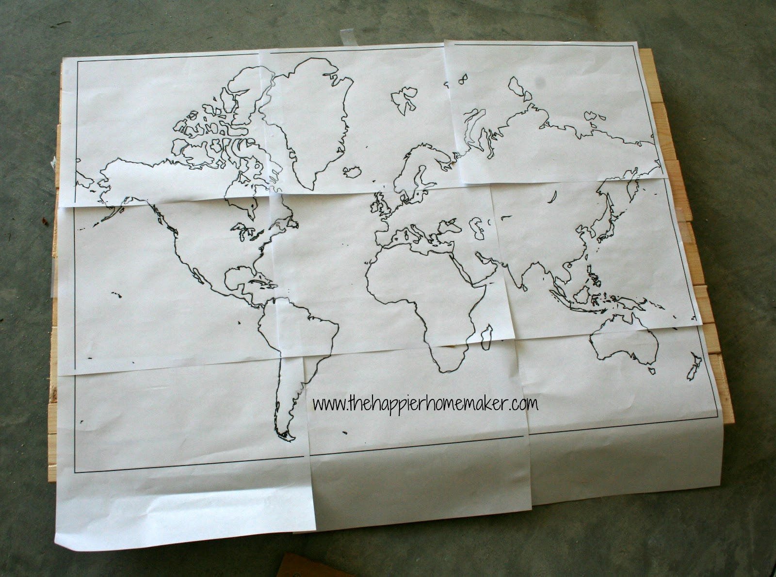 DIY Wooden World Map Art The Happier Homemaker - Large us map stencil