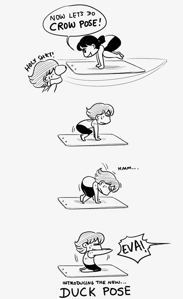 yoga crow duck pose comics cartoon manga