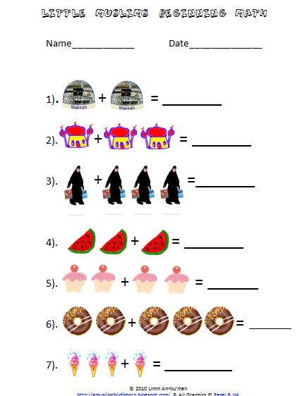Worksheet Beginner Math Worksheets a muslim child is born beginning math worksheets for little muslims muslims