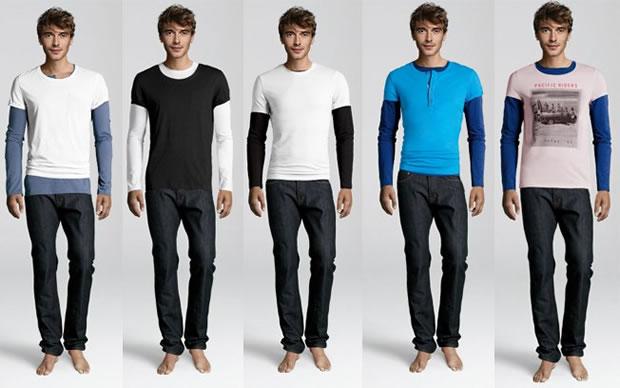 Como não usar t-shirt com camisa de manga comprida (Foto: Divulgação/H&M)