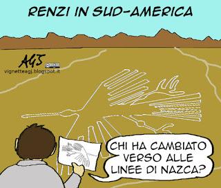 Renzi, sud-america, diario di viaggio, cambiaverso, satira vignetta