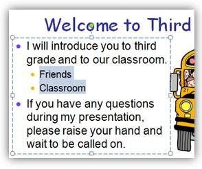 Gambar:  Contoh sub item bahasan di presentasi powerpoint