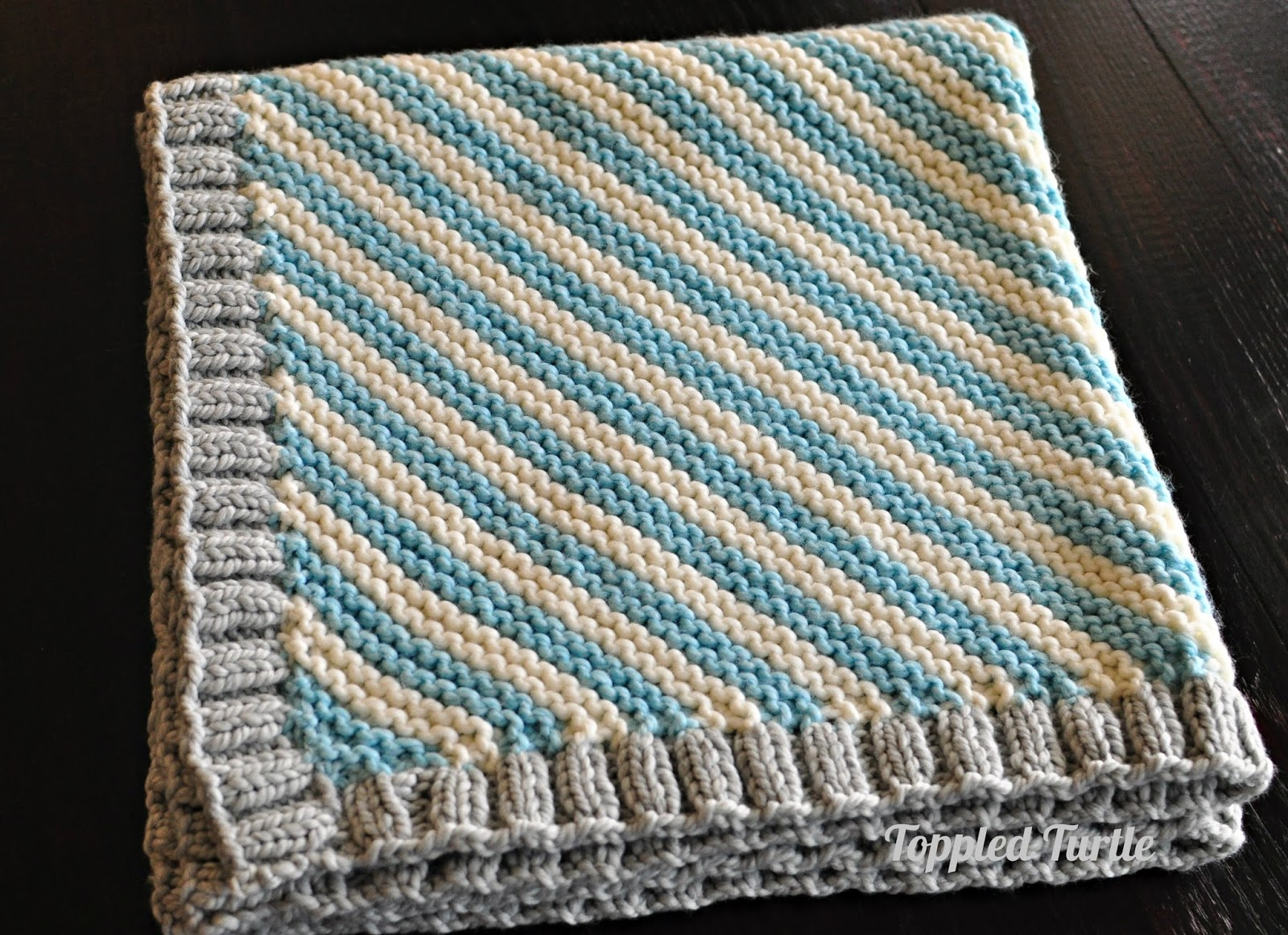 Free Knitted Blanket Patterns : Toppled Turtle: Bias Striped Knit Baby Blanket - Free Pattern