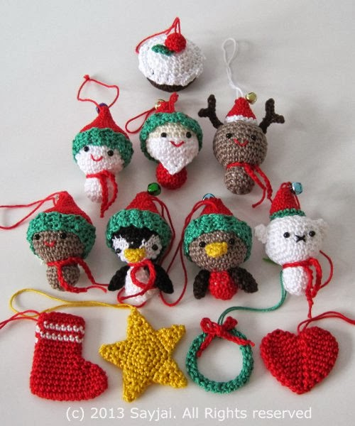 Crochet Patterns Xmas : Christmas cuties - Sayjai Amigurumi Crochet Patterns ~ K and J Dolls ...