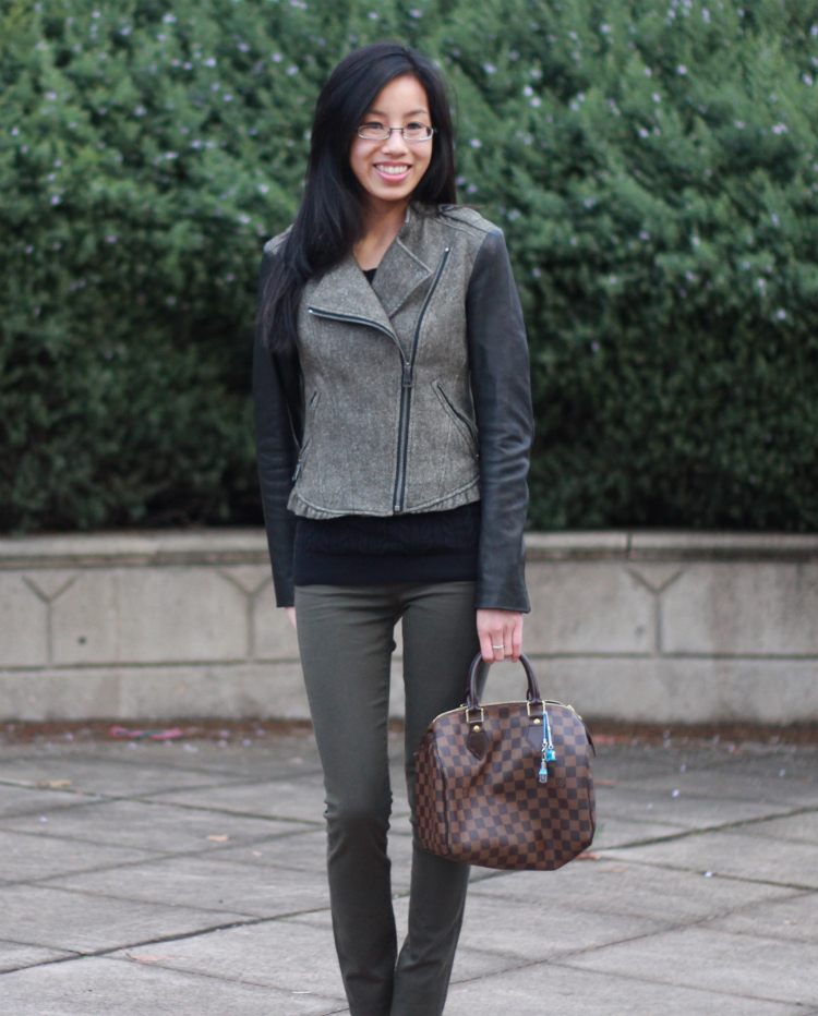 olive and brown combo fall outfit idea louis vuitton speedy