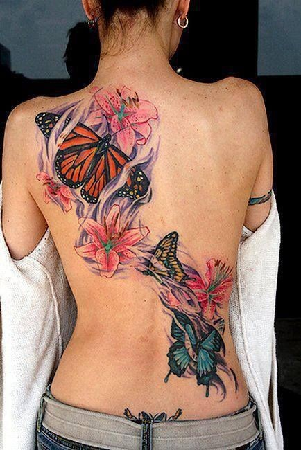 Large color tattoo butterflies on the back1