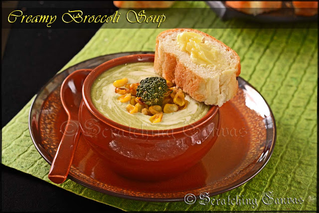 Broccoli ans Roasted Corn Creamy Soup