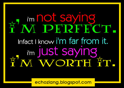 I'm not saying i'm perfect. In fact i'm far from it. I'm just saying i'm worth it.