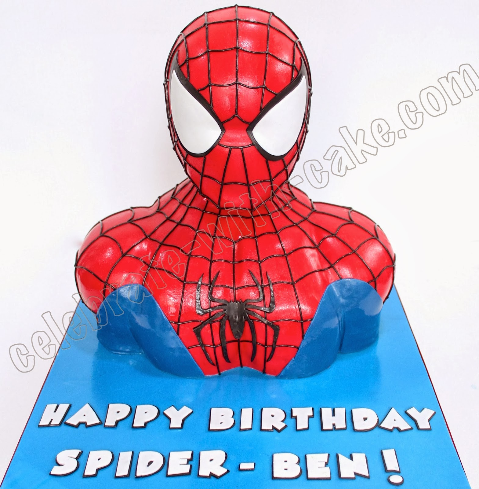 Celebrate with cake spiderman bust for Spiderman template for cake