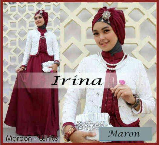 Busana: Baju Gamis Pesta Miss Irina Maroon (BHM-001)