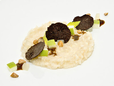 HEINZ BECK & DAVID POSEY  Celery Risotto alla Waldorf  CELERY ROOT 'RISOTTO' WITH APPLE, HAZELNUT AND BLACK TRUFFLE  Congratulations to James Beard Foundation Rising Star Semi-Finalist Chef David Posey and Master Chef Heinz Beck on the Year One winning Taste of Waldorf Astoria dish, Celery Risotto Alla Waldorf. Their modern take on a celery root 'risotto' with apple, hazelnut and black truffle became part of an illustrious heritage of iconic dishes, featured on restaurant menus at Waldorf Astoria properties worldwide.
