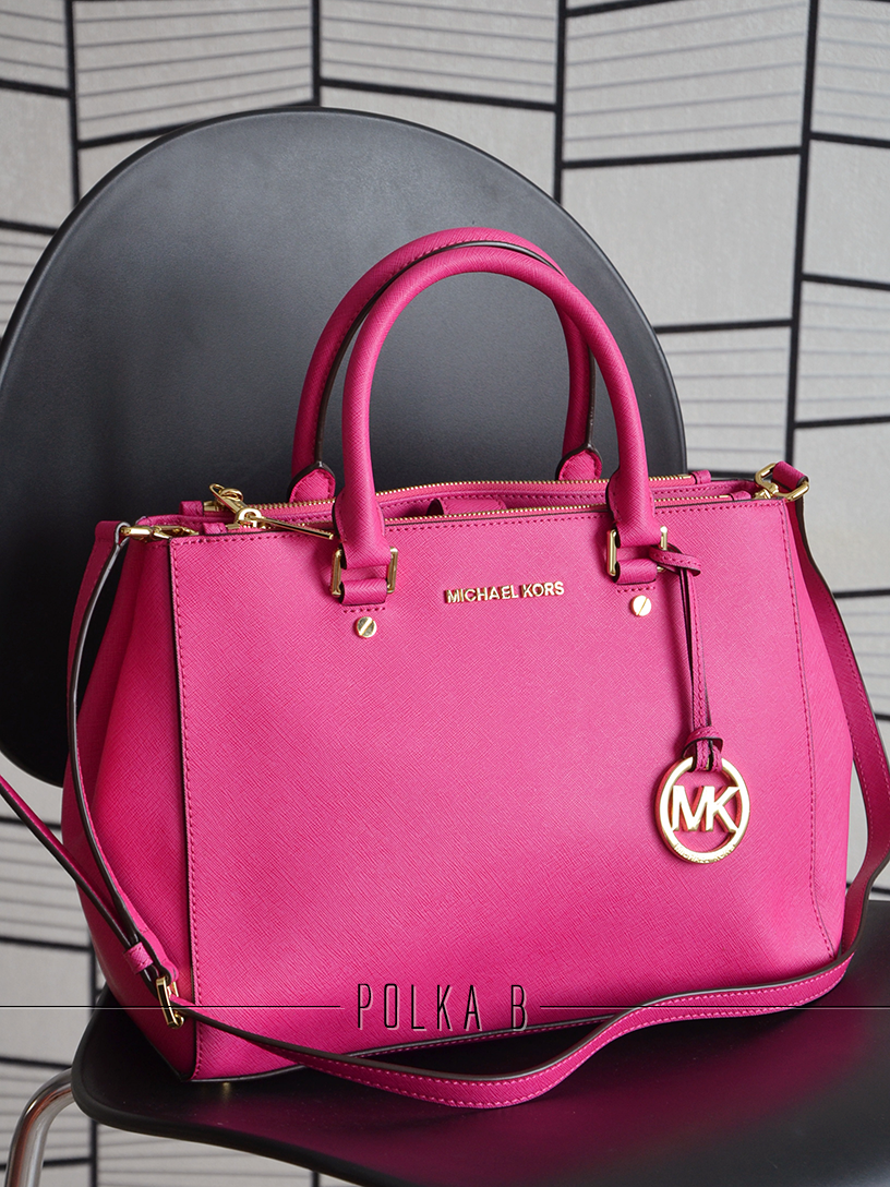 1221baf62c05 ... usa michael kors medium sutton satchel raspberry 391d6 4fb7e