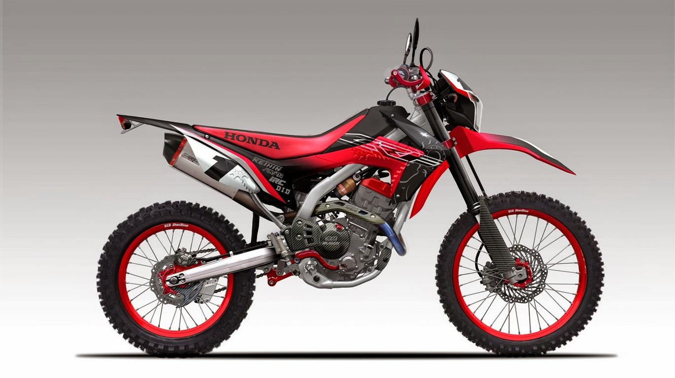 Modifikasi Trail Kawasaki Ninja 150 Warna Merah Keren