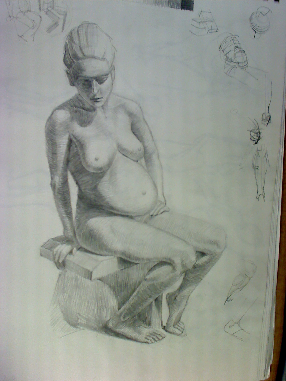 Tonal cast drawing of pregnant lady