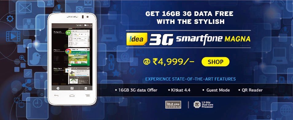 Snapdeal: Buy Idea 3G smartfone Magna at Flat 20% off and get 16 GB 3G Data Free and Free idea Tv subscription worth Rs.3200 at Rs.4877