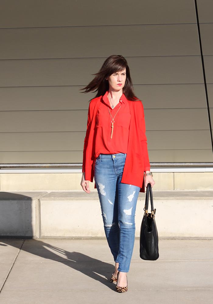 LOFT, how to wear red, leopard pumps, distressed denim