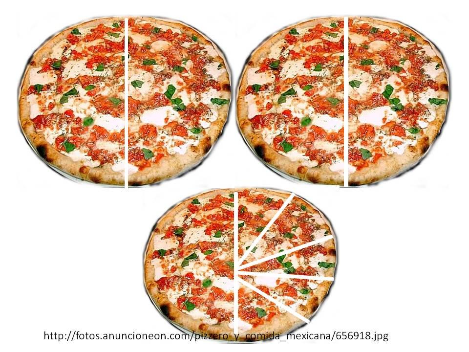 Reparto y cortes m nimos de en pizzas for En 3 pizzas te olvido