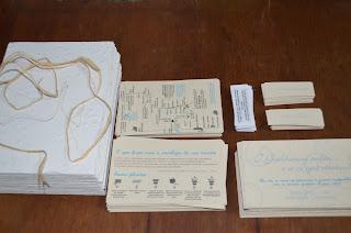 Convite Casamento reciclado - Todas as partes prontas para começar a montar
