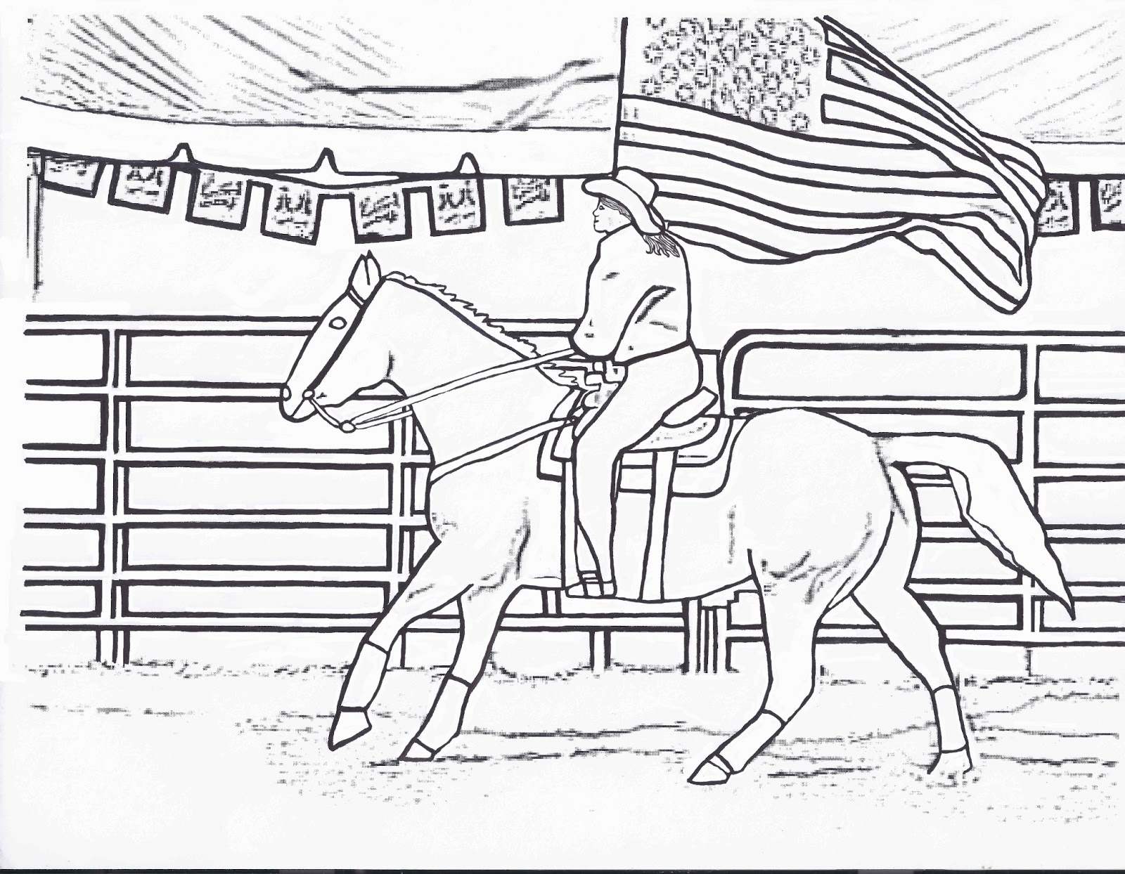 rodeo flag girl color page by dancing cowgirl design - Rodeo Coloring Pages